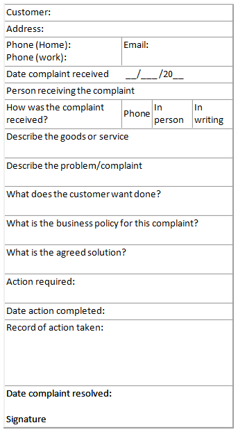 Grievance Log Template