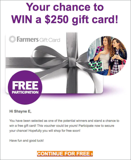 farmers gift card scam